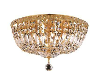 Elegant Lighting Tranquil Royal Cut Gold & Crystal Six-Light 16'' Wide Flush Mount Light EG2528F16G