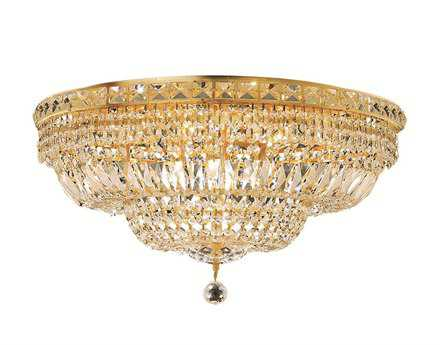 Elegant Lighting Tranquil Royal Cut Gold & Crystal 12-Light 24'' Wide Flush Mount Light EG2528F24G