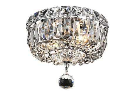 Elegant Lighting Tranquil Royal Cut Chrome & Crystal Two-Light 8'' Wide Flush Mount Light EG2528F8C