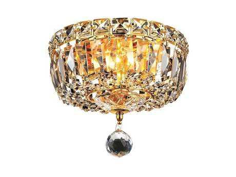 Elegant Lighting Tranquil Royal Cut Gold & Crystal Two-Light 8'' Wide Flush Mount Light EG2528F8G