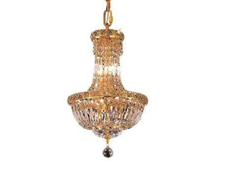 Elegant Lighting Tranquil Royal Cut Gold & Crystal Six-Light 12'' Wide Mini Chandelier EG2528D12G