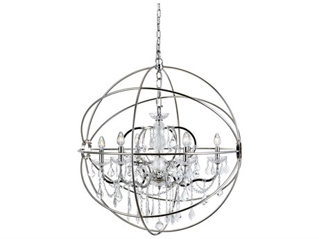Elegant Lighting Urban Royal Cut Polished Nickel & Crystal Six-Light 32'' Wide Chandelier EG1130D32PN