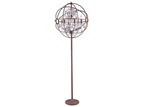 Elegant Lighting Urban Royal Cut Red Rusted Painted & Crystal Six-Light Floor Lamp EG1130FL24RI