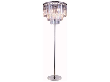 Elegant Lighting Urban Royal Cut Polished Nickel & Crystal Eight-Light Floor Lamp EG1201FL20PN