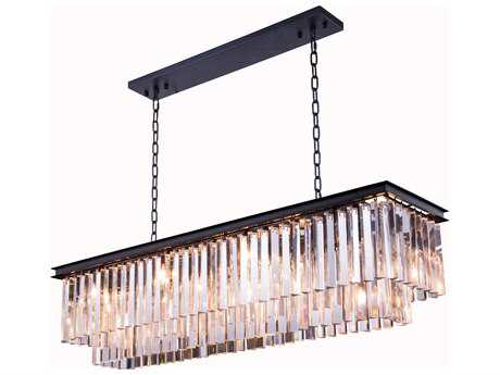 Elegant Lighting Urban Royal Cut Mocha Brown & Crystal 12-Light 50'' Long Island Light EG1202D50MB