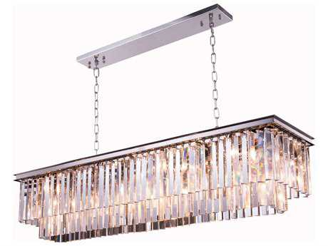 Elegant Lighting Urban Royal Cut Mocha Brown & Crystal 12-Light 60'' Long Island Light EG1202D60MB