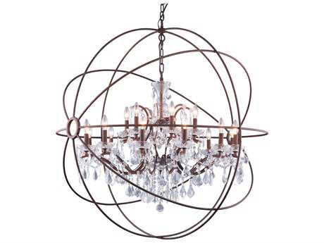 Elegant Lighting Urban Royal Cut Red Rusted Painted & Crystal 18-Light 44'' Wide Chandelier EG1130G43RI