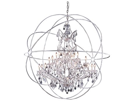 Elegant Lighting Urban Royal Cut Polished Nickel & Crystal 25-Light 60'' Wide Grand Chandelier EG1130G60PN
