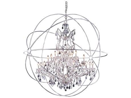 Elegant Lighting Urban Royal Cut Polished Nickel & Crystal 25-Light 60'' Wide Grand Chandelier EG1130G60PN