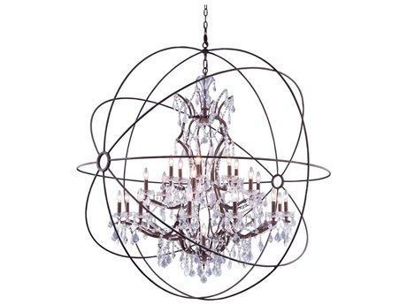 Elegant Lighting Urban Royal Cut Red Rusted Painted & Crystal 25-Light 60'' Wide Grand Chandelier EG1130G60RI