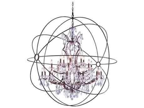 Elegant Lighting Urban Royal Cut Red Rusted Painted & Crystal 25-Light 60'' Wide Grand Chandelier EG1130G60RI