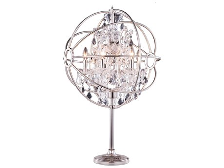 Elegant Lighting Urban Royal Cut Polished Nickel & Crystal Six-Light Table Lamp EG1130TL21PN