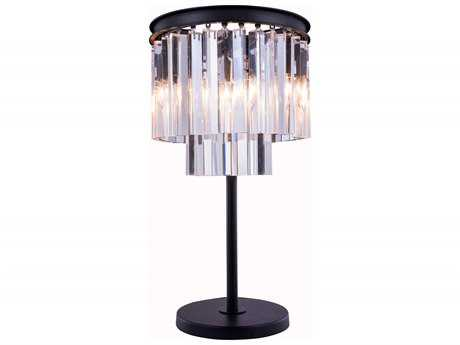Elegant Lighting Urban Royal Cut Mocha Brown & Crystal Three-Light Table Lamp EG1201TL14MB