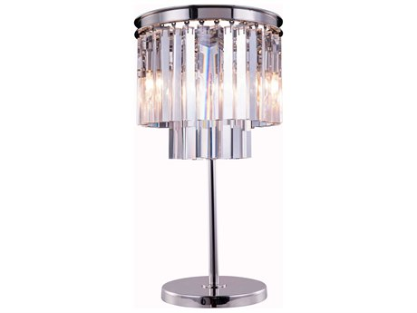 Elegant Lighting Urban Royal Cut Polished Nickel & Crystal Three-Light Table Lamp EG1201TL14PN