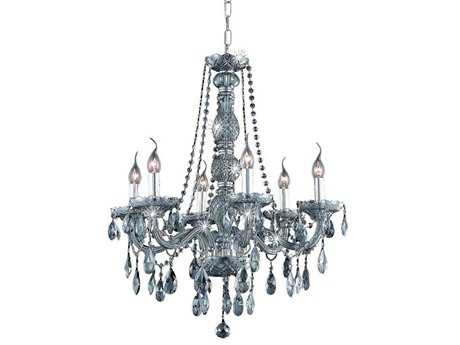 Elegant Lighting Verona Royal Cut Silver Shade Six-Light 24'' Wide Chandelier EG7956D24SSSS