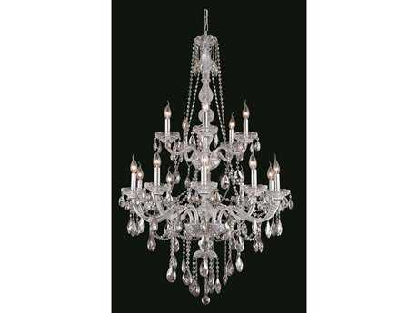 Elegant Lighting Verona Royal Cut Chrome & Crystal 15-Light 33'' Wide Grand Chandelier EG7915G33C