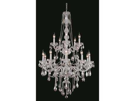 Elegant Lighting Verona Royal Cut Chrome & Crystal 15-Light 33'' Wide Grand Chandelier EG7915G33C