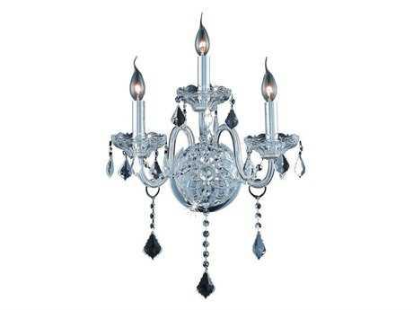 Elegant Lighting Verona Royal Cut Chrome & Crystal Three-Light Wall Sconce EG7853W3C