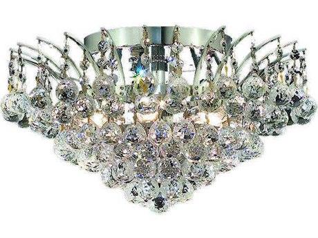 Elegant Lighting Victoria Chrome Six-Light 16'' Wide Semi-Flush Mount Light with Elegant Cut Crystal
