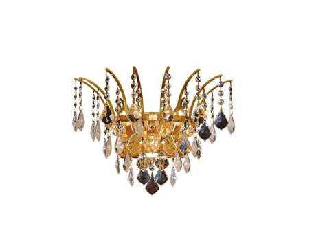 Elegant Lighting Victoria Royal Cut Gold & Crystal Three-Light Wall Sconce EG8033W16G