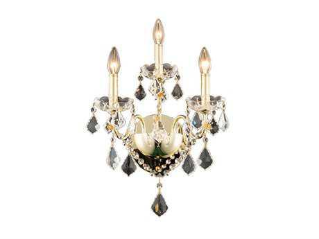 Elegant Lighting Royal Cut Gold & Crystal Two-Light Wall Sconce EG2015W3G