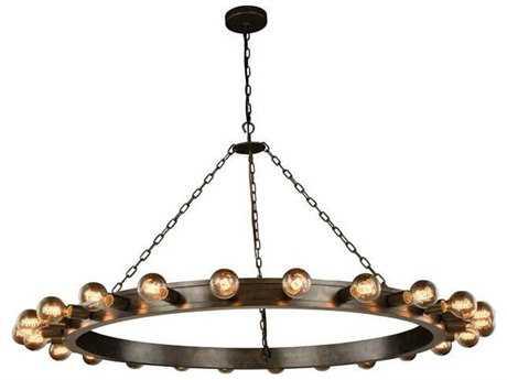 Elegant Lighting Winston Aged Iron 24-Light 55'' Wide Grand Chandelier EG1500G55AI