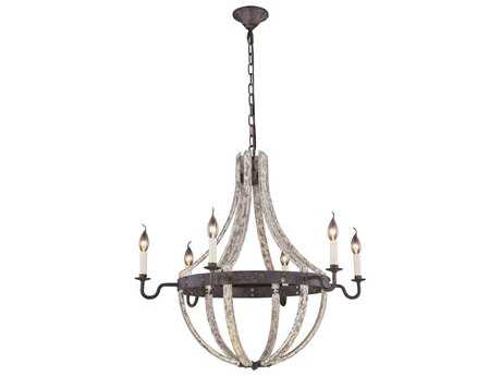Elegant Lighting Woodland Ivory wash & Steel grey Six-Light 31'' Wide Chandelier EG1502D31IW