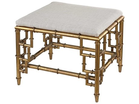 Elk Home Clear / Cream Linen Gold Leaf Accent Bench
