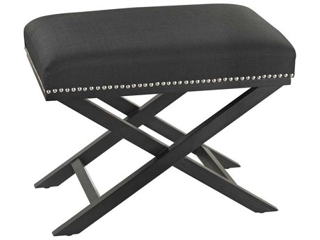 Elk Home Black Linen / Silver Nail Head Accent Bench