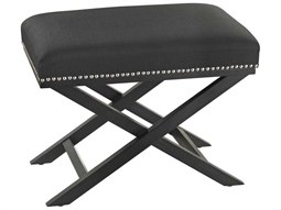 Black Linen / Silver Nail Head Accent Bench