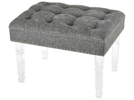 Elk Home Clear Acrylic / Grey Chenille Silver Nail Head Accent Bench