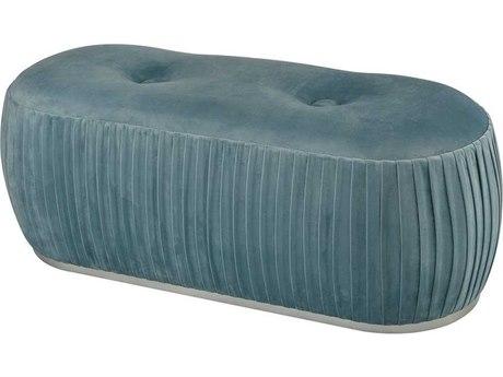 Elk Home Duck Egg Blue Velvet / Silver Accent Bench