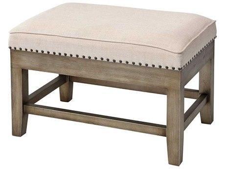 Elk Home Cream Linen / Antiqued Silver Accent Bench