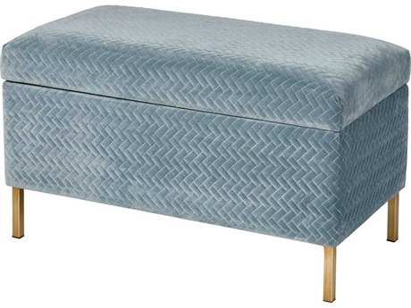 Elk Home Blue Chenille / Gold Accent Bench