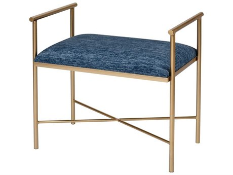 Elk Home Navy Blue Chenille / Gold Accent Bench