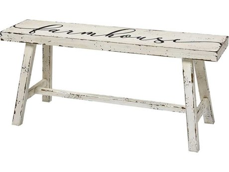 Elk Home Aged White Accent Bench