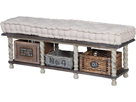 Elk Home Heritage Grey Stain / Woodlands Moss Accent Bench