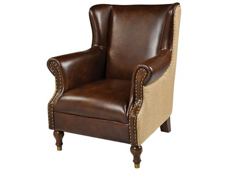 Elk Home Natural Burlap / Tan Leather Accent Chair