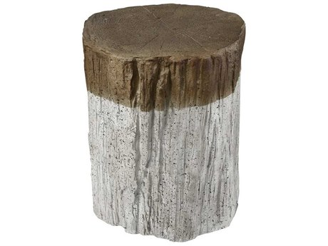 Elk Home Natural Bark / Whitewash Accent Stool