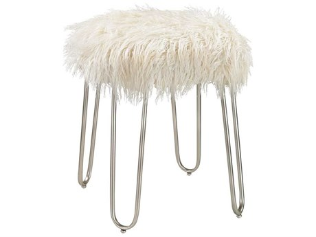 Elk Home Silver / White Faux Fur Accent Stool