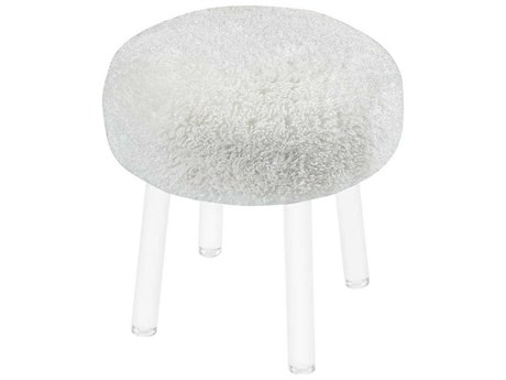 Elk Home White / Clear Accent Stool