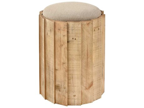 Elk Home Natural Wood / Linen Accent Stool