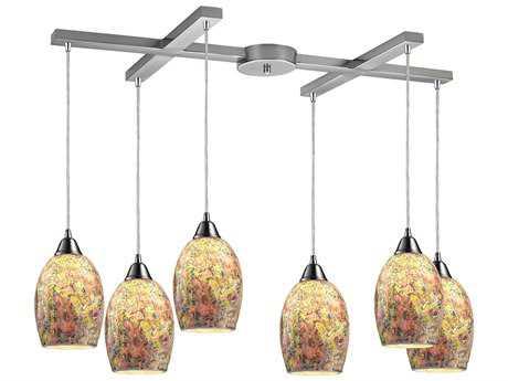 Elk Lighting Avalon Satin Nickel Six-Light 33'' Wide Pendant