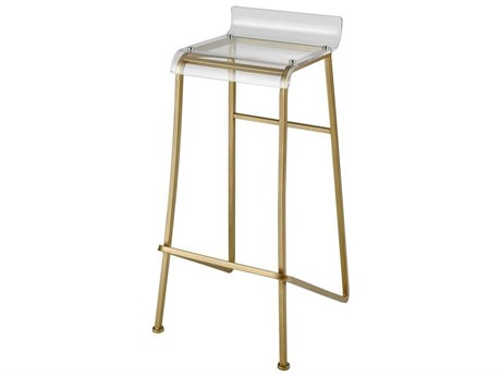 Elk Home Aged Gold / Clear Side Bar Height Stool