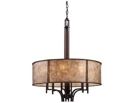 Elk Lighting Barringer Aged Bronze & Tan Mica Shade Six-Light 24'' Wide Pendant Light