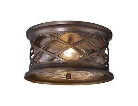 Elk Lighting Barrington Gate Hazelnut Bronze Two-Light Flush Outdoor Ceiling Light EK420372
