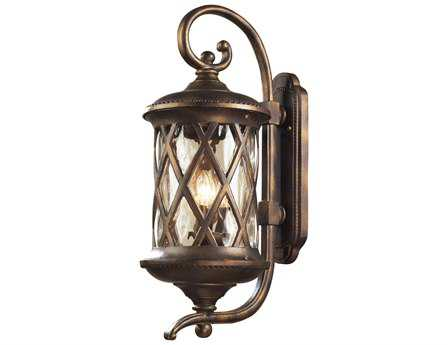 Elk Lighting Barrington Gate Hazelnut Bronze & Designer Water Glass Three-Light Outdoor Wall Light