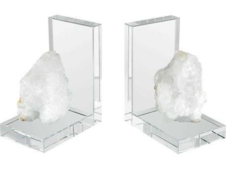 Elk Home Clear Crystal / Natural Rock Bookend (Set of 2)