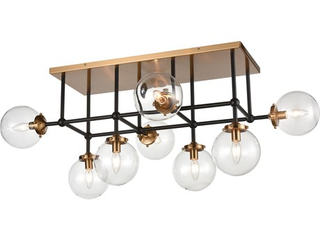 Elk Lighting Boudreaux Matte Black / Antique Gold 42'' Wide Glass Island Light