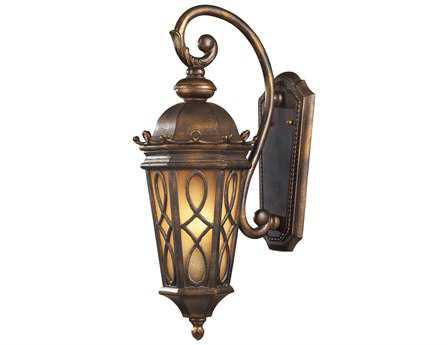 Elk Lighting Burlington Junction Hazelnut Bronze & Amber Scavo Glass Two-Light Outdoor Wall Bracket EK420012